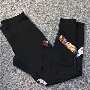 Black leggings with floral mesh design